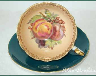 Shelley, England: Tea cup with fruit & saucer