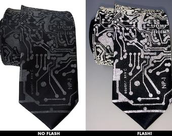 Circuit Board Necktie. RetroReflective print men's tie. Computer science gift. Silkscreened circuit board.