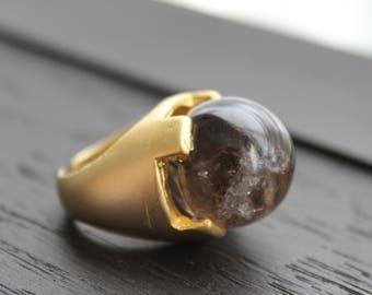 Smoky Quartz Ring Smoky Quartz Jewelry Crystal Ball Ring Crystal Ball Jewelry Smokey Quartz Ring Natural Quartz Gold Ring Castle Ring Boho