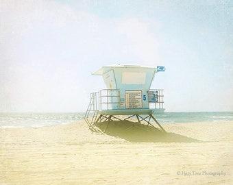 Beach Print, Fine Art Photography Print, Huntington Beach Wall Decor, Lifeguard Stand, Tower, Bedroom Wall Art, California Print, Surf Art