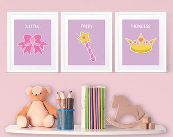Little Fairy Princess set of 3 prints with Bow, Wand and Tiara for young Girls room in purple, pink and yellow, INSTANT DOWNLOAD