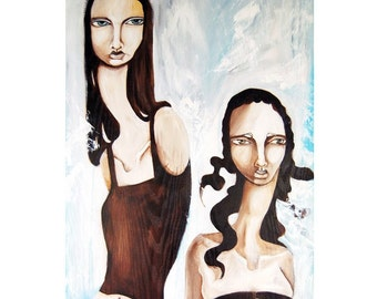"""A Lackluster Reconciliation 5x10"""" Matted Archival PRINT of an original Ela Steel painting - Sad melancholy girls corset ladybugs brown blue"""