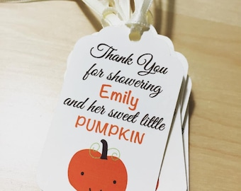 Fall Baby Shower Favor Tags, Pumpkin Baby Shower Favor Tags, Little Pumpkin Favor Tags