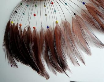 HALF PINWHEEL Beaded Hackle Feathers /  Chocolate Brown   /  1231