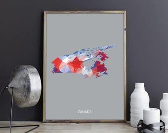 Canada Art Canada Wall Art Canada Wall Decor Canada Photo Canada Print Canada Poster Canada Map Country Map Watercolor Map Country Map Print