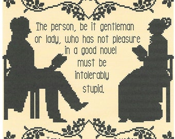 A Good Book/ A Jane Austen Quotation cross stitch chart