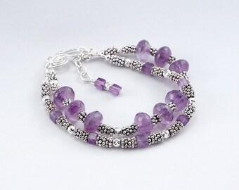 February Birthstone, Amethyst Bracelet, Double Strand Bracelet, Amethyst Jewelry, February Birthday, Purple Bracelet, Purple Jewelry