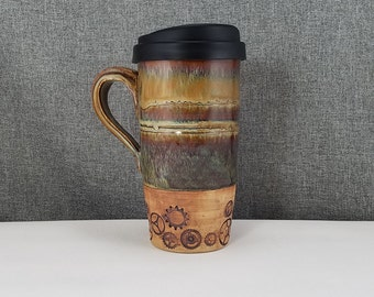 IN STOCK* Stoneware Travel mug / Commuter mug with silicone lid - Acorn / Brushed / Gears
