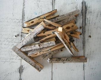 wedding favours aged pegs decoupaged pegs french script weathered pegs stained pins clothing pegs cottage chic shabby decor wooden pegs - 8