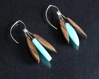 Modern Feather Earrings - Seafoam Green (EF005)