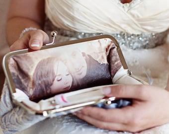 Personnalisé Photo pochette mariée embrayage | Les demoiselles d'honneur, mère de la mariée et le marié cadeau |  Personnalisation seulement