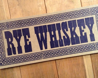 letterpress sign RYE WHISKEY poster Blue drink cocktail jar kitchen decor gifts diner art print