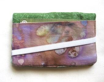 Business Card Holder Mini Wallet- Bifold Inside Outside Wallet in Purple and Seam Foam Batik with Dark Green Fabric