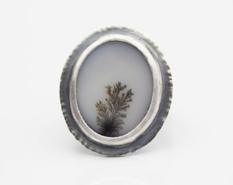 Dendritic Agate Sterling Silver Ring White Brown Le Chien Noir Boho Jewelry Mother's Day Gift for Her Size 6.25