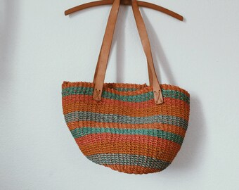 Woven Jute Bag - Tote - Purse - Leather Straps