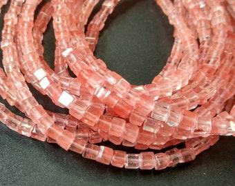 Synthetic Pink Cherry Quartz Cube beads 4x4x4mm- approx 90pcs/Strand