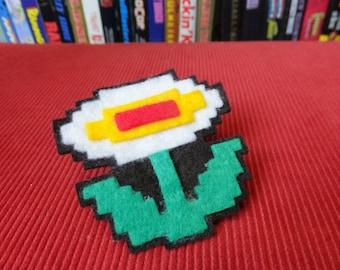 Fire Flower NES felt brooch