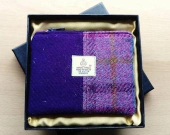 Harris Tweed Coin Purse in Presentation Box, Purple Barley Corn and Lilac Check