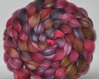 Merino /Tussah Silk   70/30  Hand Painted Roving  5.4 ounces -   Understanding  Combed Top