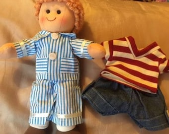 Personalised Boy Rag Doll Harry. Set Includes One Extra Outfit. 28 cms Ragdoll.