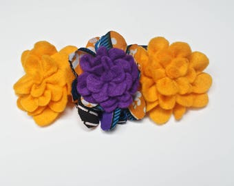 African Bloom Headbands,Felt Flowers, African Print Flowers, Sunset Yellow & purple