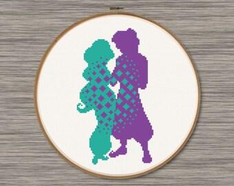 Jasmine and Aladdin - PDF Cross Stitch Pattern