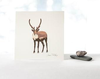 Caribou art print, bold caribou illustration, caribou drawing wall art, caribou nursery art, fine art drawing, nature artwork, caribou art