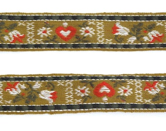 "Hearts & Flowers Vintage Ribbon, Jacquard Ribbon, Sewing Trim, Floral Ribbon, Tyrolean Trim, Folkloric, Tapestry Ribbon, 1"" wide, 3 yards"