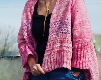 Cardigan/Wrap Knitting Pattern,Cuddles,Silky Merino,DK Sport Yarn,Womens Fashion, Knitting Design, Boho