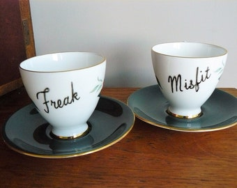 Freak Misfit  hand painted vintage coffee set recycled one of a kind red rose pattern