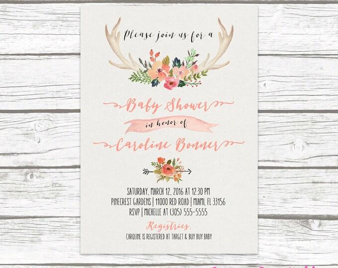 Antler Boho Baby Shower Invitation, Tribal Watercolor Floral Baby Girl Invite, Pink Aztec Western Southwestern Bohemian, Printed Printable