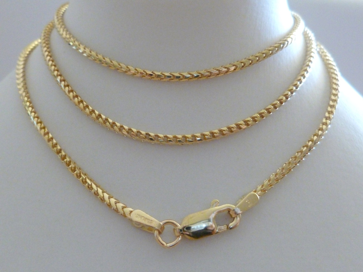 9ct Solid Gold Franco Chain 9ct 9k 10k 375 Men's Women
