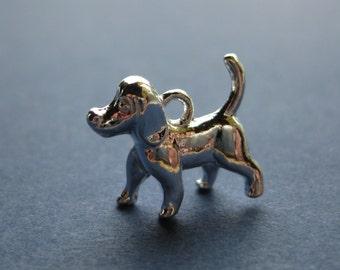 10 Dog Charms - Dog Pendant - Animal Charm - Animal Pendant - Silver Plated - 16mm x 15mm  --(U6-10091)