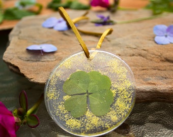 Four Leaf Clover Pendant In Resin - Suede String - Handmade