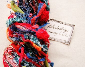 Primary Interest mix blue red green orange Novelty Fiber Yarn Ribbon Sampler Bundle