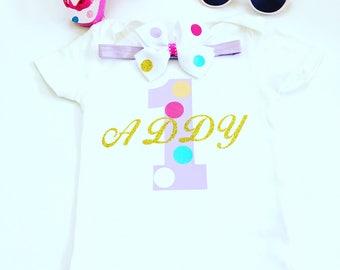 Turning 1 Birthday Shirt, First Birthday Bodysuit, First Birthday Shirt, Girls Birthday Shirts, Birthday Girl 1st Birthday, First Birthday