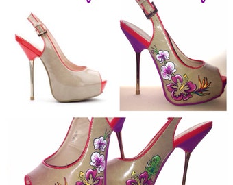 Hand painted high heels,Any design available.