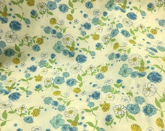 Vintage 60's Cotton Fabric Pale Yellow With Blue And Yellow Flowers 4 Yds 10 inches