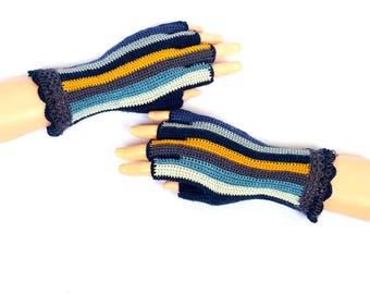 Blue Gray Yellow Half Finger Gloves Finger Gloves Fingerless Gloves Hand Warmers Wrist Warmers Arm Warmers Texting Gloves Driving Gloves