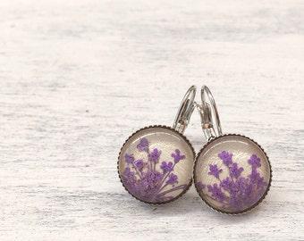 Purple earrings, original gift for girlfriend, natures jewelry, real flower earrings, violet purple, handmade earrings, pressed flower