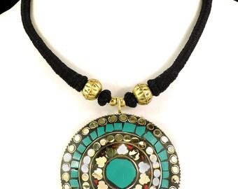 Tibetan Choker Necklace Brass Turquoise Pendant 102551