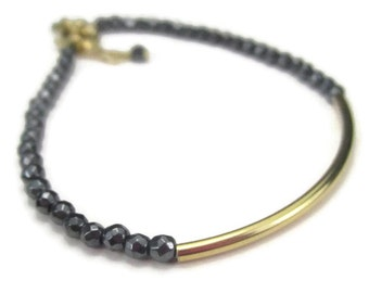 Gray Gemstone Bracelet with Gold Filled, Simple Hematite Layering Piece