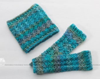 "Crochet, hook, neck warmers, legwarmer, baby, set, kit, children 6-12 months of color ""tide"". Ready to ship!"