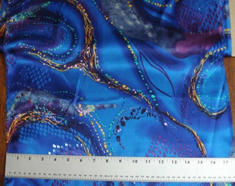 100% Silk Charmeuse Prints - Aquamarine