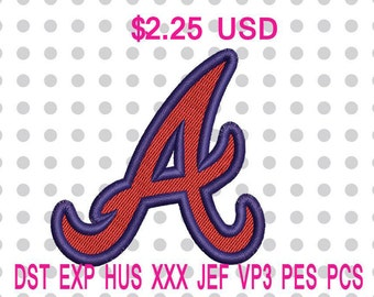 Atlanta Braves Alternate Logo Machine Embroidery Design 5 Sizes-INSTANT DOWNLOAD