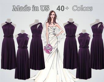 Short Wrap Dress, Dark purple Wrap Dress, Convertible Wrap Dress, Knee-Length Dress, Wrap Dresses, dark purple Wrap Gown, Twist Wrap Dress