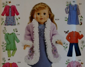 "Simplicity 4786 18"" Doll  Clothing Sewing Pattern New/Uncut"
