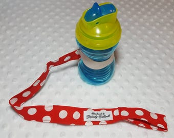 Polka dot Sippy Cup Leash - Sippy Cup Holder
