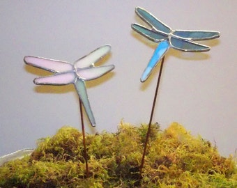 Dragonflies Stained Glass Garden Art Stake