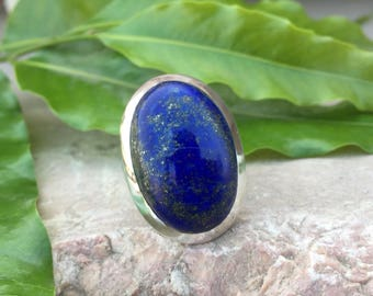 Lapis Lazuli Oval Cab Sterling Silver Ring- Lapis Lazuli ring - Adjustable Ring - Sterling Silver Ring - SKU LP004